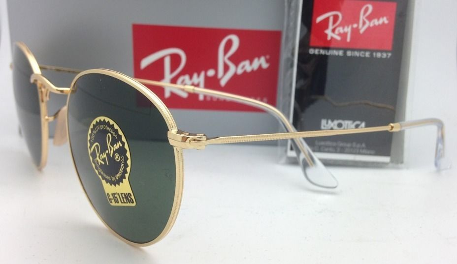 1a1d43d1e47 New Ray-Ban Sunglasses ROUND METAL RB 3447 001 47-21 Gold with G