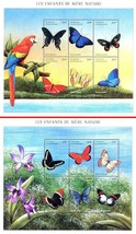 CENTRAL AFRICA 2001 BUTTERFLIES x2 M/S SC#1398-99 MNH CV$20.00 INSECTS - $4.41