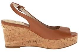 Women's  Michael Kors NATALIA SLING Wedge Open Toe Sandal Leather Luggage US 9.5 - $94.99