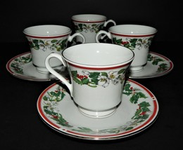 4 St Maria Lynns Fine China Cups & Saucers Christmas Holly & Berry Red Band - $673,65 MXN
