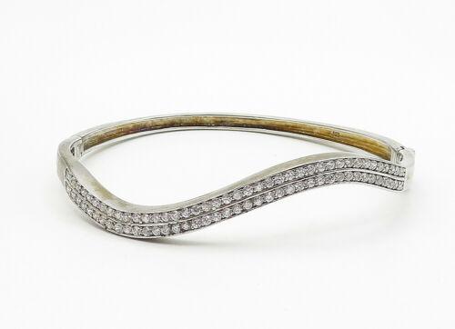925 Sterling Silver - Vintage Cubic Zirconia Wavy Bangle Bracelet - B6263 image 2