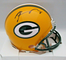 AARON RODGERS / AUTOGRAPHED GREEN BAY PACKERS LOGO RIDDELL MINI HELMET / STEINER