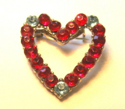 Valentine, Vintage 1920's Red & Pale Blue Rhinestone Heart Pin - $14.25