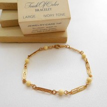 Vintage Avon Touch Of Color Ivory Tone Gold Link Large Size Bracelet ZZ9 - $13.59