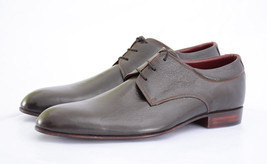 New Handmade Men's Classy Unique Design Luxury Plain Leather Dress Shoes... - $149.00+
