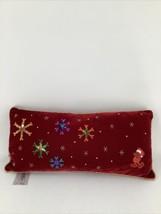 Disney Mickey Mouse Red Burgundy Velvet Pillow Snowflakes Stars Sequin E... - $18.69