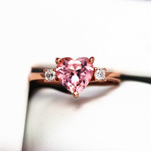 Pink Morganite Ring, Created Morganite, Sterling Silver Rings for Women,... - $79.00