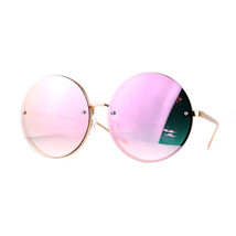 Super Oversized Round Sunglasses Womens Mirror Lens Back Metal Rims - $11.83+