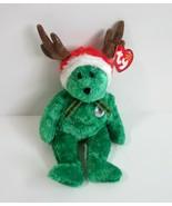 2002 TY Happy Holidays Teddy Bear the Green Reindeer Christmas Beanie Baby - $8.99