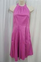 Jessica Simpson Dress Sz 6 Super Pink Halter Cottton Casual Cocktail Tea... - £45.47 GBP