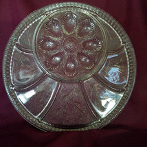 Vintage Indiana Glass Pebble Leaf Deviled Egg Plate + Relish (circa 1960s) - $18.00