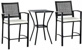 3 Piece Outdoor Modern Classic Bar Style Patio Rattan Bistro Furniture Set - $275.89