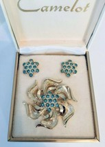 Vintage Camelot Blue Rhinestone Broach and Clip Earring Set Original Box - $12.38