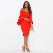 New red sexy off shoulder elegant bodycon dress butterfly sleeves plus size - $62.00