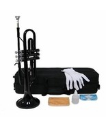 Merano B Flat Black Trumpet with Case and Mouth Piece, Gloves, Oil - $148.00