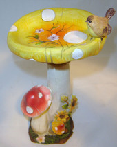 "14""  Mushroom Trio Bird Feeder  statue resin NEW"