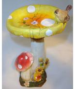"14""  Mushroom Trio Bird Feeder Statue Resin New - $25.73"