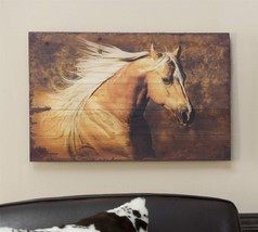 Rustic Look White Horse Running Reproduced on Fir Wood - NEW