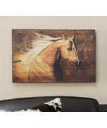 Rustic Look White Horse Running Reproduced on Fir Wood - $69.29