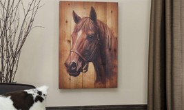 Rustic Look Horse Head on Fir Wood - NEW