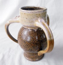 "Art Pottery Vase 3-Handled Thrown Brown Handcrafted 7-3/4"" Signed - $18.70"