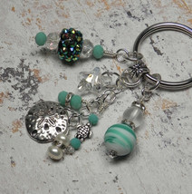 Sand Dollar Beach Crystal Glass Beaded Handmade Keychain Split Key Ring ... - $16.58