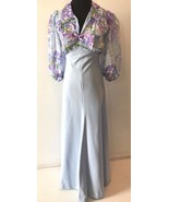 Vintage 1970s Blue and Purple Chiffon Puffy Sleeves Bow Maxi Dress size ... - $39.95