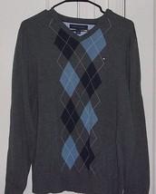 Tommy Hilfiger Mens Medium Embroidered 100% Cotton V Neck Long Sleeve Sw... - $9.42