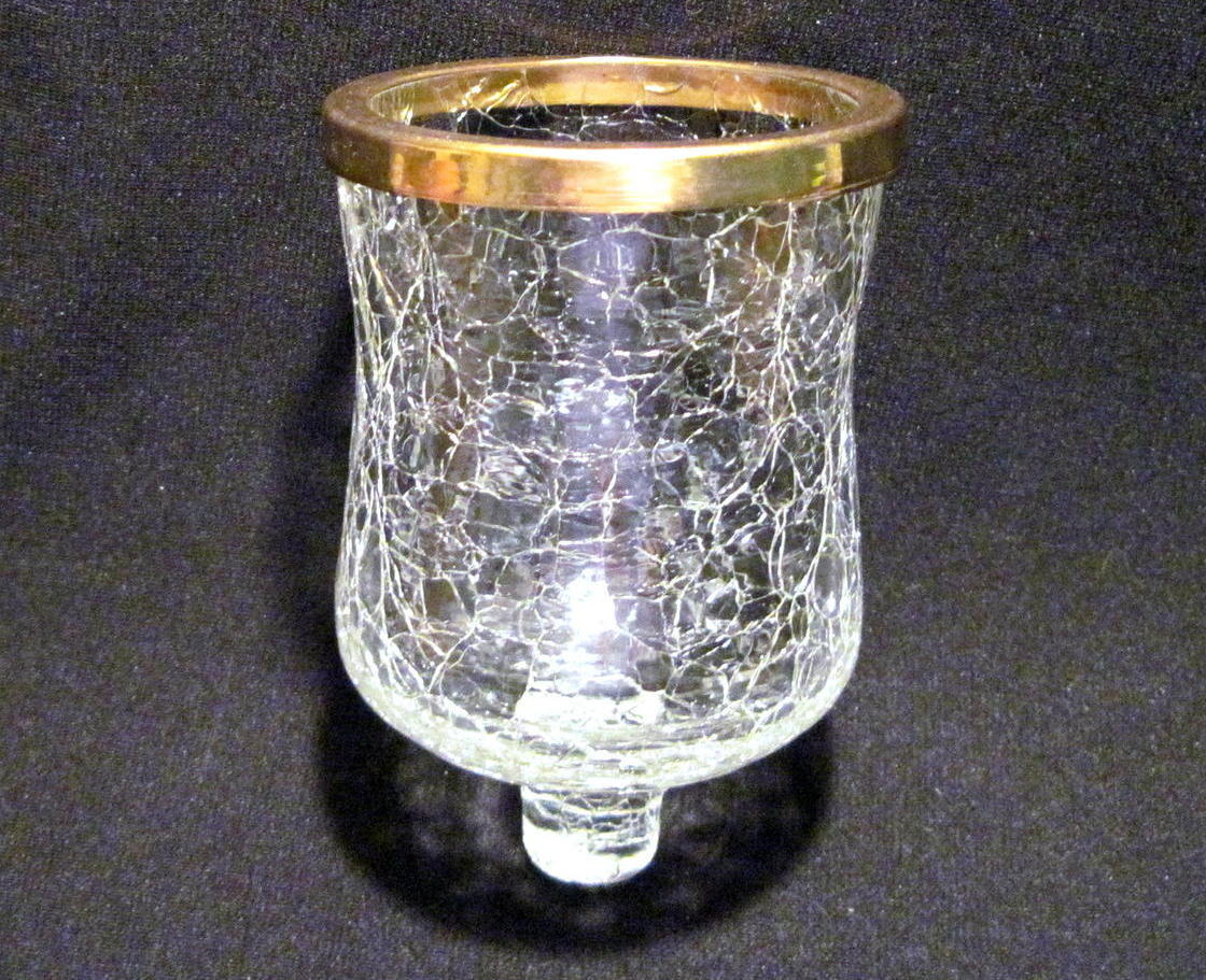 Crackle Glass Peg Votive Candle Holder With Brass Ring