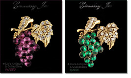 Eisenberg Ice Choice Purple or Green Grape Cluster Pin (Inventory #J1230) - $52.52 CAD