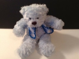 "RICH PLUSH BLUE BEAR 10"" with Scarf 7"" tall sitting - $11.80"