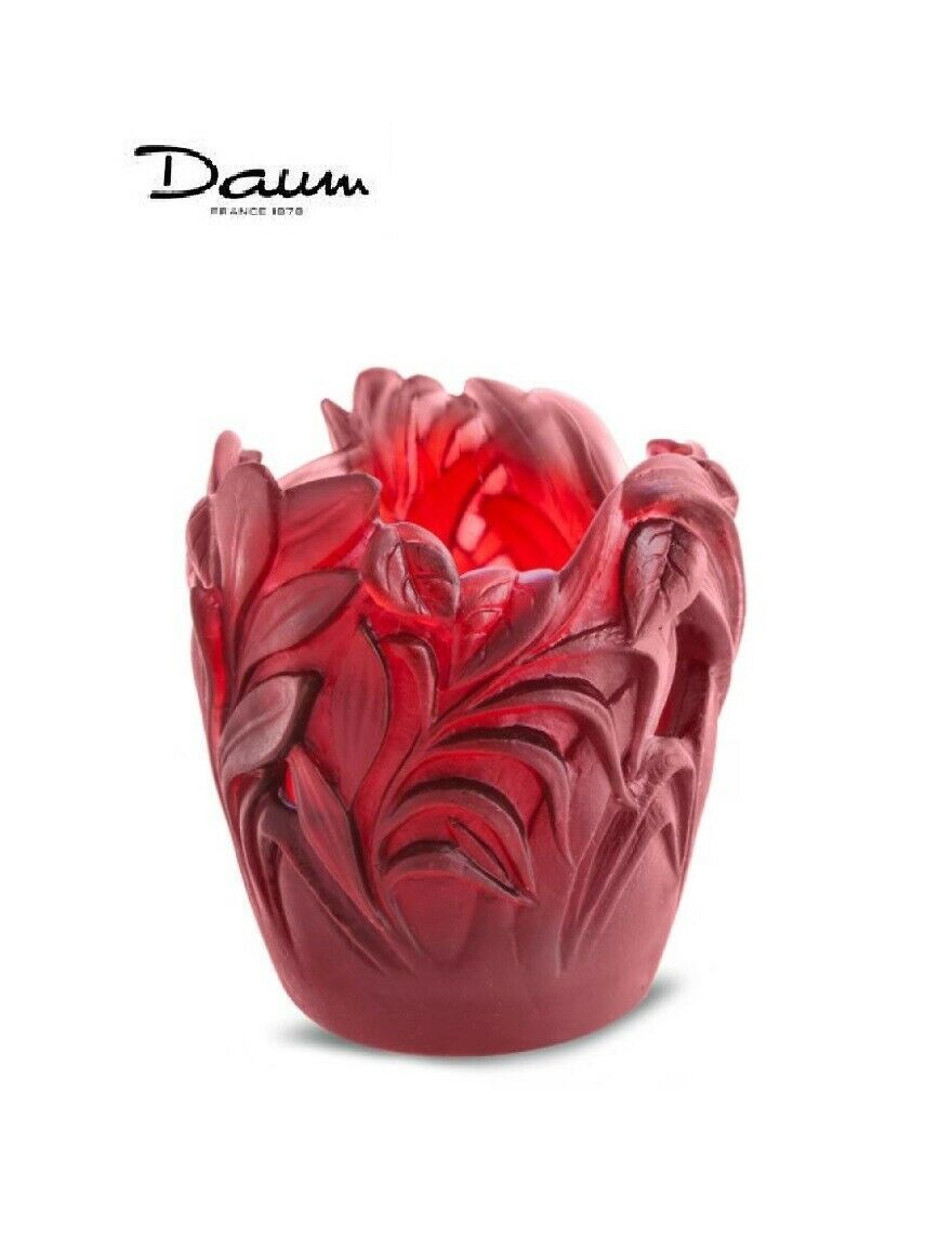 DAUM Red Jungle Vase 05456-1 FRANCE CRYSTAL New in Box Numbered Edition - $796.75