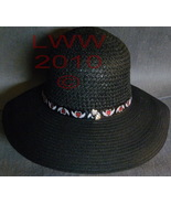 NEW Gothic Heart & Wings Black Ladies Floppy Straw Sun Hat - $19.99