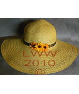 Ladies Floppy Straw Sun Hat with blue ribbon autumn daisies - $19.99