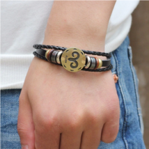 Vintage Retro Charm Bracelet 12 Horoscope Leather Bracelet Men Jewelry 2019 - $12.99