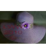 Ladies Lavender Floppy Straw Sun Hat with purple flower - $19.99