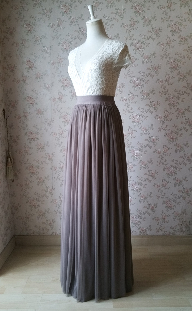 Maxi skirt tulle coffee 780 1