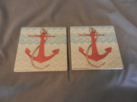 Pair of Sandstone Coasters Nautical Anchor with Rope by Beth Grove - $29.70