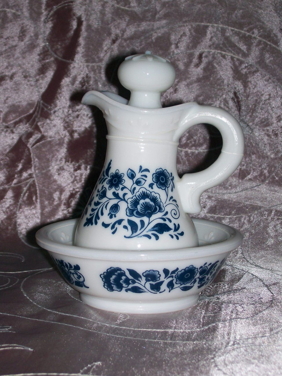 Collectible Vintage Avon Delft Blue and White Pitcher & Bowl Set- EUC