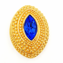 Swarovski Vintage Brooch  Sapphire Blue Marquise Crystal in Domed Oval S... - $39.00