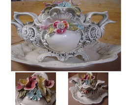 Tureen, Vintage Decorative Tureen, Italian tableware large tureen, dish,... - $180.00