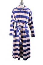 Marimekko Kumu Trench Coat Womens L 38 Purple Pink Stripes Cotton Iconic... - $198.00