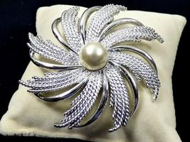 VTG Mid Century silver tone metal white pearl faux Sarah Coventry COV pi... - $23.76