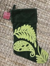 LAST ONE! NEW Pottery Barn Christmas Velvet Applique Stocking GREEN NO TAG - $24.69