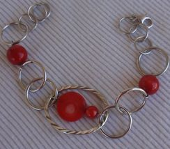 Rounds silver bracelet with corl colored - $28.00