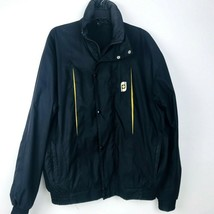Footjoy Vintage Mens Full Zip Button Golf Windbreaker Jacket M Black Vented - $36.33