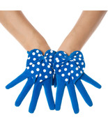 Polka Dot Blue Suede Bow Leather Gloves - $16.99