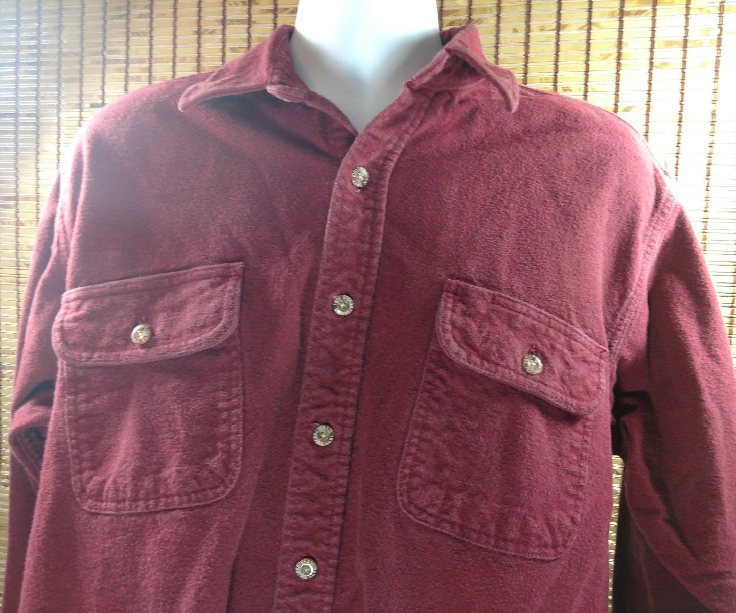 Field & Stream Mens Thick Cotton Shirt Full Button Front Size Large Red Outdoors