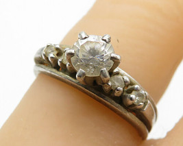 925 Silver - Vintage Prong Set Topaz Solitaire With Accents Ring Sz 7 - ... - $23.99
