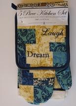 INSPIRATIONS KITCHEN SET 7-pc Towels Potholders Mitt Love Laugh Dream Blue Beige image 2